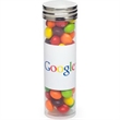 Large Tube with Silver Cap / Skittles® - Large plastic tube with silver cap and filled with Skittles® candies
