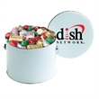 Hershey's® Holiday Mix / Half Gallon Tin - Half gallon tin filled with Hershey's® Holiday Mix; includes one-color direct imprint or 4-color process label on lid.