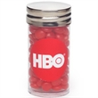 Small Clear Silver Cap Tube / Red Hots® - Small clear plastic tube with silver cap and filled with cinnamon Red Hots®