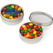 Small Clear Window Tin with Skittles® - Small round designer window tin filled with fruit flavored Skittles® candies