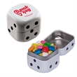 Dice Candy Tin with Chicle Chewing Gum - Dice shaped candy tin with chickle chewing gum.