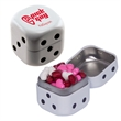 Dice Tin with Candy Hearts - Dice shaped white mint tin with candy hearts.