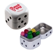 Dice Tin with Jelly Beans Candy - Dice shaped white mint tin with jelly beans candy.
