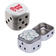 Dice Candy Tin with Sugar Free Gum - Dice shaped white  tin with sugar free chewing gum.