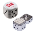 Dice Mint Tin with Signature Peppermints - Breath Fresheners - Dice shaped white mint tin with signature peppermint breath mints and fresheners.
