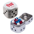 Dice Tin with Candy Stars - Dice shaped white mint tin with candy stars.
