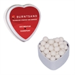 Heart Mint Tin with Peppermints - Breath Mints - White heart mint tin container with peppermints breath mints and fresheners. Perfect gift for valentines day.
