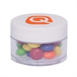 Twist Top Container With Cap filled with Chocolate Littles - Twist top container with white cap filled with chocolate littles compare to M&M®candy.