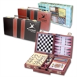 "Six In One Game Set - 10.25"" x 6"" x 1.825"" imitation leather case containing 6-In-One game set with instructions."