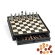 Egyptian Chess and Checker Set w/Pewter Chessmen and Storage - Egyptian pewter chess and checker set and wooden chessboard with storage drawers.