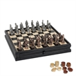 Fantasy Chess and Checker Set w/Pewter Chessmen and Storage - Fantasy pewter chess and checkers set and wooden chessboard with storage drawers.