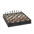 Golf Chess and Checker Set with Storage - Beautifully cast golf-inspired pewter chessmen & wooden chessboard with drawers.
