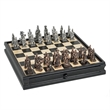 Chinese Qin Chess and Checker Set with Storage - Chinese Qin chess set with pewter pieces and wooden board with storage drawers.