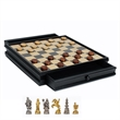Medieval Chess and Checker Set with Storage - Medieval chess set with pewter pieces and wooden chessboard with storage drawers.