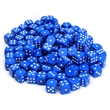 Blue Dice with Rounded Corners - 100 Pack - 100-pack of plastic blue dice with rounded corners.