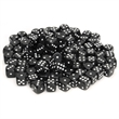 Black Dice with Rounded Corners - 100 Pack - 100-pack of plastic black dice with rounded corners.