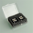 Pair of Black Professional Numbered Dice in Case - Pair of black, plastic professional numbered dice in a plastic case.
