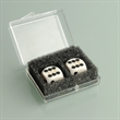 Pair of White Professional Numbered Dice in Case - Pair of white, plastic professional numbered dice in a plastic case.