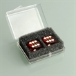 Pair of Red Professional Numbered Dice in Case - Pair of red, plastic professional numbered dice in a plastic case.
