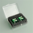 Pair of Green Professional Numbered Dice in Case - Pair of green, plastic professional numbered dice in a plastic case.