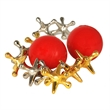 Metal Jacks in a Cotton Canvas Bag - 5 silver and 5 gold metal jacks with two red bouncy balls in a cotton canvas bag.