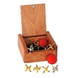Metal Jacks in a Wood Box - 5 silver and 5 gold metal jacks with two red bouncy balls in a wooden box.