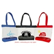 """Basic Clear Zipper Tote - 16"""" x 12"""" x 4"""" clear tote bag made of PVC plastic with a gray zipper and 600 denier colored fabric trim"""