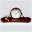 St James Clock - Piano finished mahogany colored hardwood desk clock with solid brass accents, Roman numerals and engraveable plate.