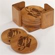 Bamboo Coasters Round - 3 3/4 x 3 3/4 Bamboo Round 6 Coaster Set with Holder