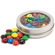 Candy in circular window tin