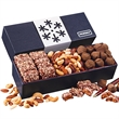 Snowflake Wrapped Box of Holiday Treats - Navy gift box with a snowflake wrap filled with chocolates and nuts