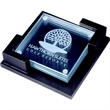 "Clear Glass Coaster - Clear coaster made of jade glass, 4 pcs/set, 3 7/8"" x 3/78"" x 3/16""."