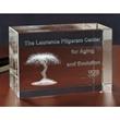 Extra Large Block 3D Crystal Award - Large optical 3D crystal jewel cube.