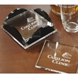 Square Glass Coaster Set - Square shaped glass coasters with clear rubber feet and a black and clear acrylic holder.