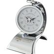 Mambo Clock - Spinning desk clock with chrome finish and customization.