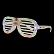 LED Slotted Glasses - Plastic eyeglasses with slotted lenses and rainbow colored LED lights.