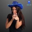 Blue Sequin Cowboy Hat - Blue sequin cowboy hat with blue LED brim. Blank Stock