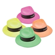 Neon Gangster Hats - Neon colored gangster hats with custom imprinting on the paper band.
