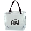 "Clear Vinyl Stadium Tote - Clear tote bag, w11-1/2""x11-3/4""x5-1/2""."