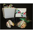 Holiday Fortune Cookie 1/2 Pint Take Out Pail - 1/2 pint size take out pail contains 2 chocolate dipped fortune cookies with holiday design