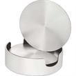 """Aluminum Coasters, Cushioned Base with Holder, Set of 4 - Set of four 3 5/8"""" round aluminum beverage coasters with EVA polymer base and storage case."""
