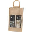 Jute Vino-Sack, With Clear, Poly Window, Two Bottles