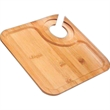 Bamboo Party Plate, Square - Bamboo party plate with stemware rack-type opening.