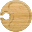 Round Party Plate With Built in Stemware Holder Bamboo Heavy