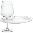 Round Party Plate With Built-In Stemware Holder, Plastic - Round party plate with built-in stemware holder.