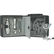 """Martini Bar Set - Locking velvet lined 8"""" x 7 3/4"""" x 7"""" leatherette Martini bar set with eight pieces."""