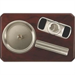 Cigarro Ash Tray Set - Ash tray set with stainless cigar cutter.
