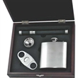 """Cigar Gift Set - Stainless steel cigar set with flask and funnel, cigar cutter, ring, and holder in 9"""" x 8"""" x 2 1/8"""" wood and leatherette case."""