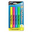 4 Pack Fluorescent Broadline Highlighters