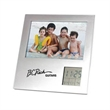 "Dual Position Frame - 7 1/2"" x 7 1/4"" x 3/4"" picture frame that holds a 4"" x 6"" picture and has a digital display with alarm, date, day and temperature."